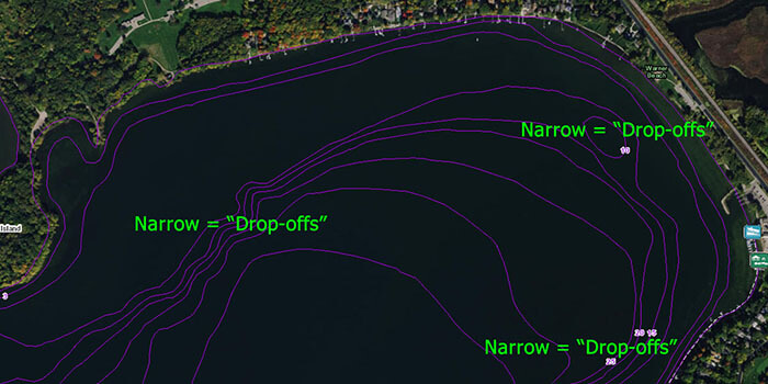 Example of drop-offs located on a Fishidy map.
