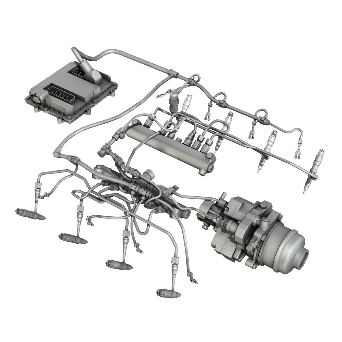 Injection System Of A V8 Engine 3d Model Buy Injection