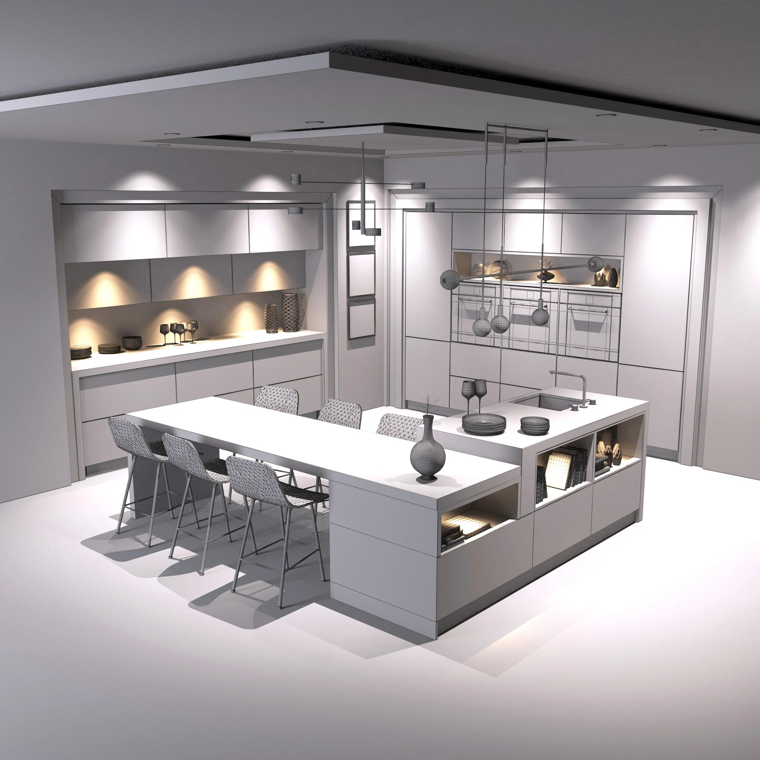 Modern Kitchen 3D Model - FlatPyramid on Model Kitchens  id=99308