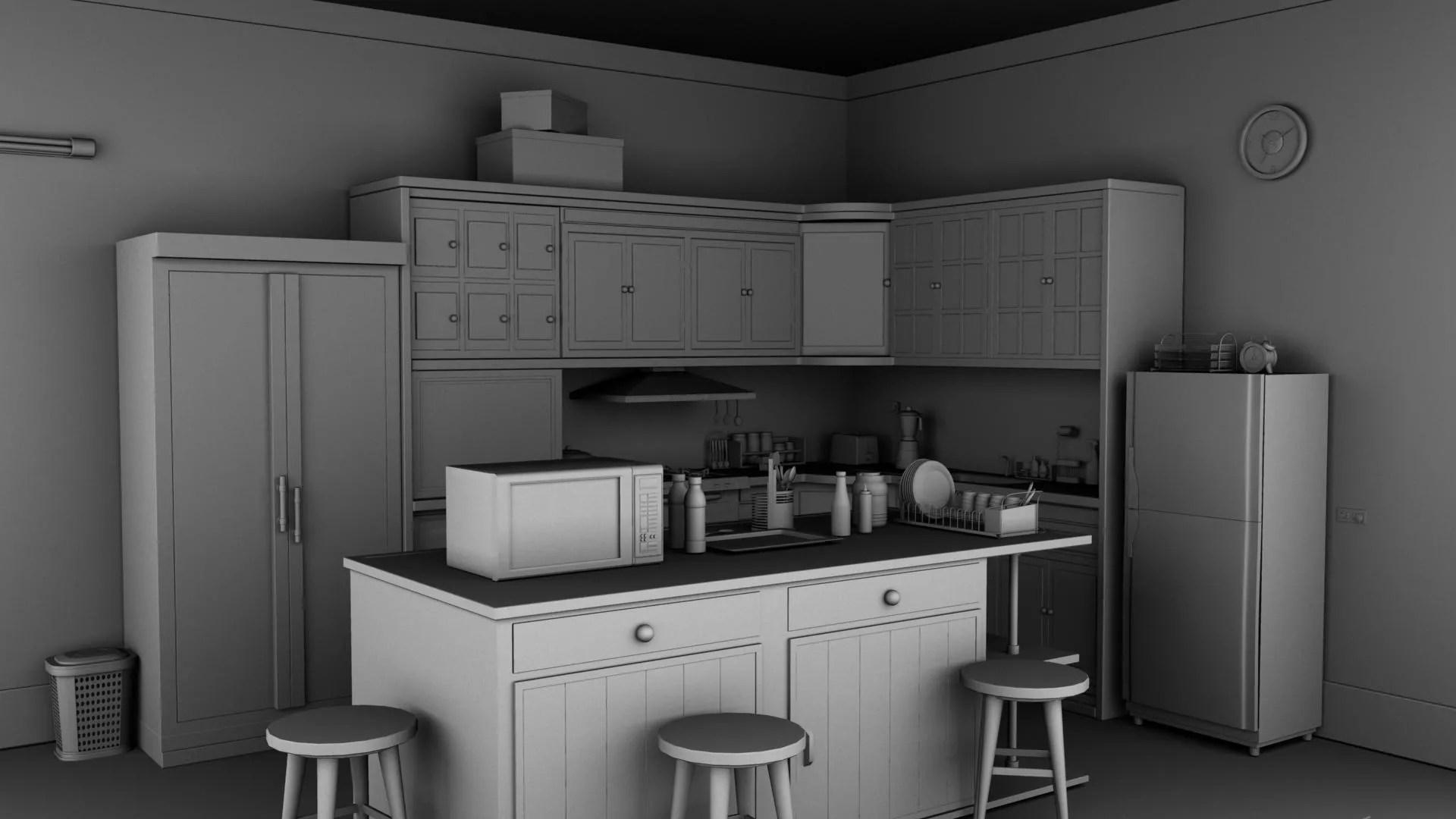 Kitchen 3D Model | FlatPyramid on Modern:8-Rtxafges8= Model Kitchen  id=49094