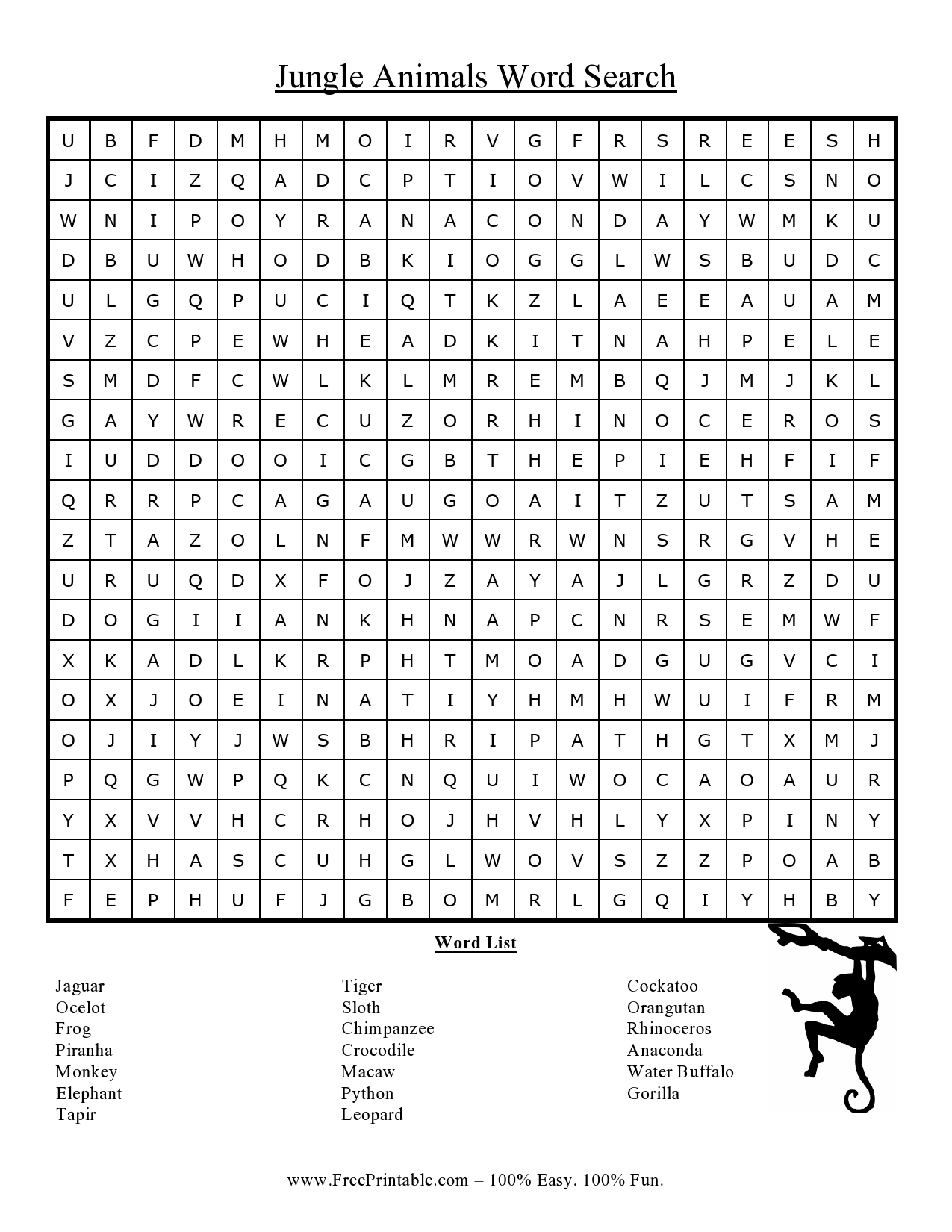 Customize Your Free Printable Jungle Animals Word Search