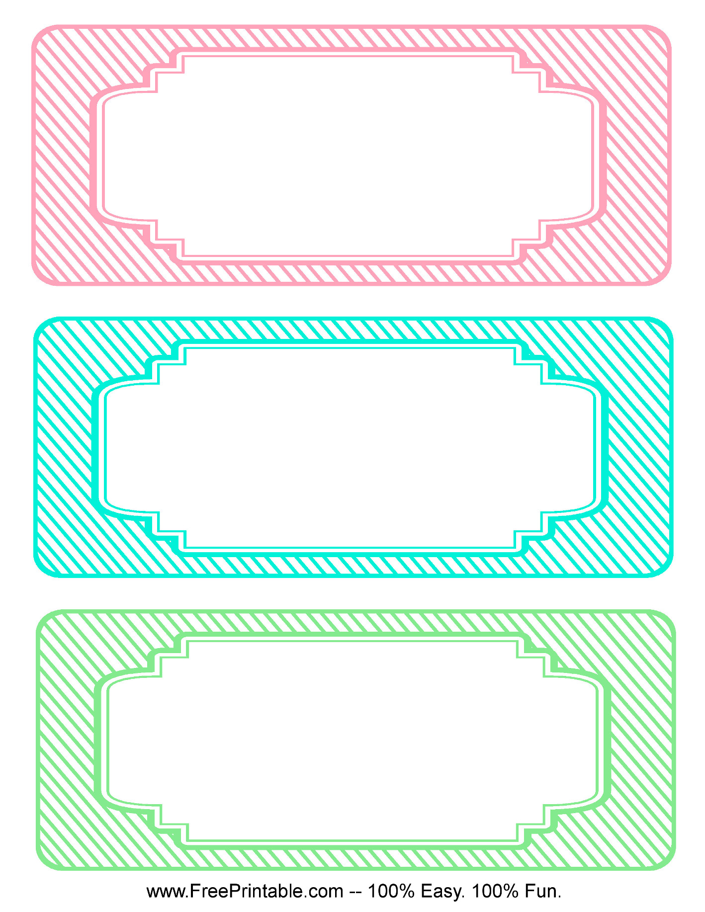 Customize Your Free Printable Blank Striped Classroom Labels