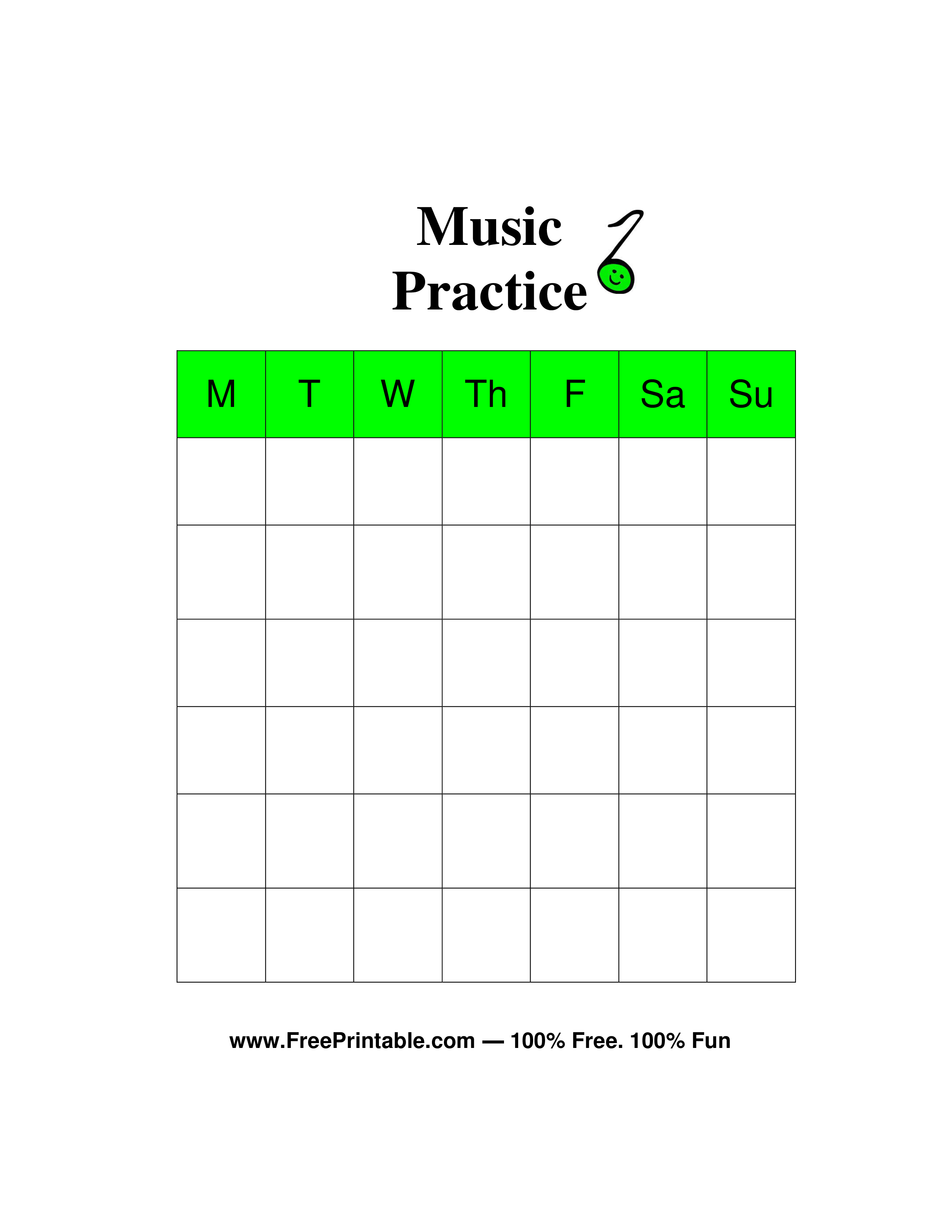 Customize Your Free Printable Music Chore Chart