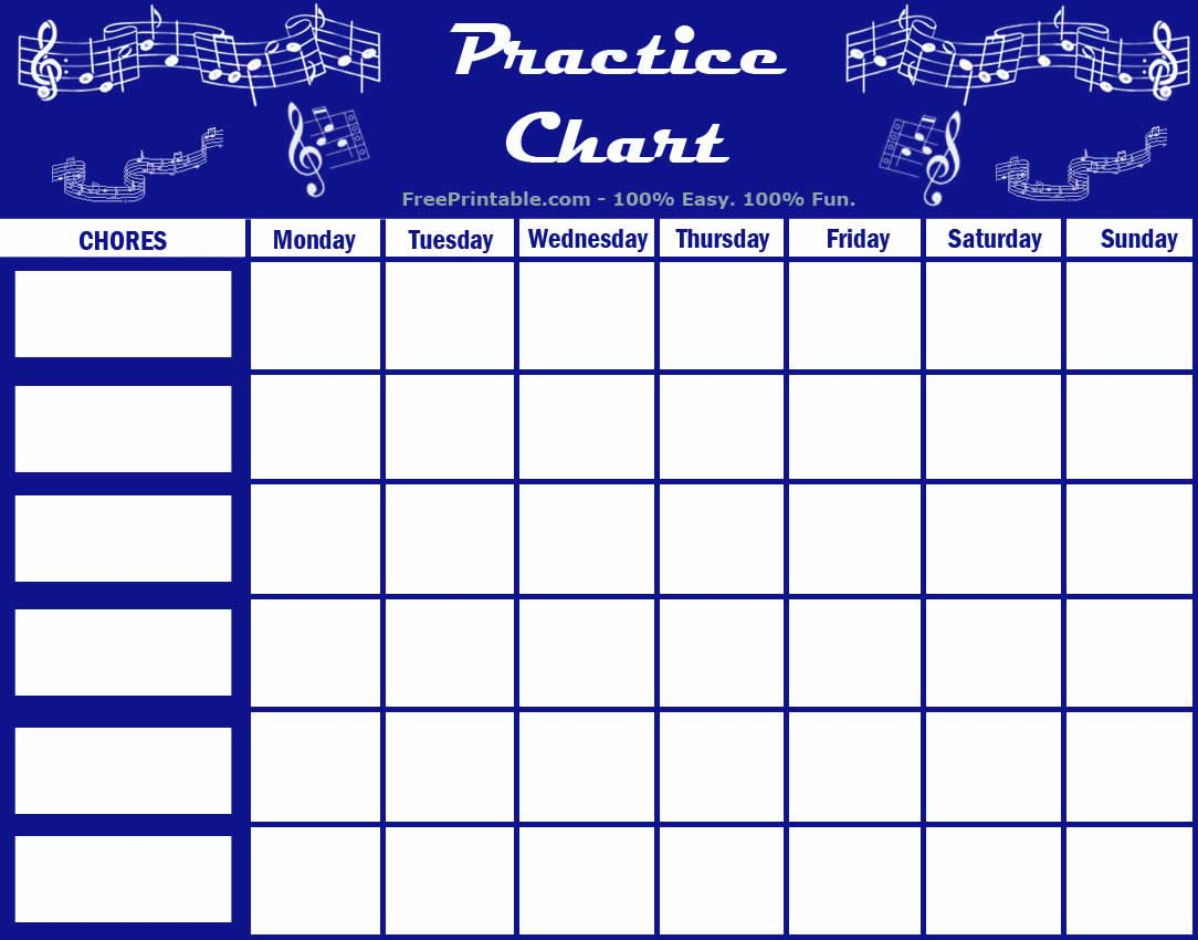 Instrument Practice Log Printable