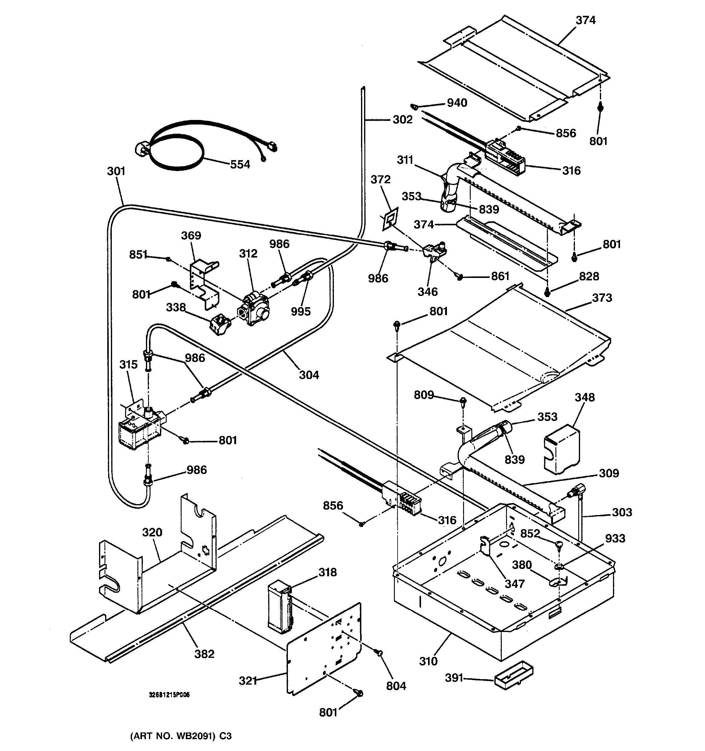 Assembly View For Oven Burner