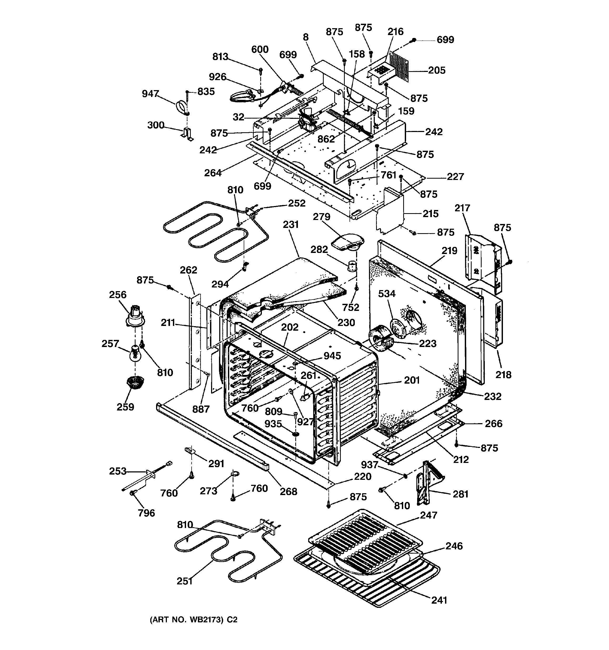 Assembly View For Oven Body With Microwave Support