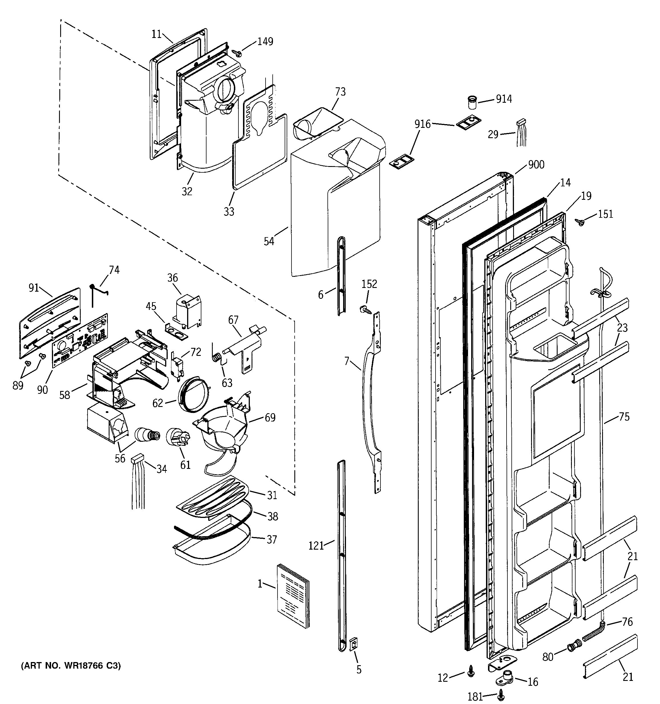 Assembly View For Freezer Door