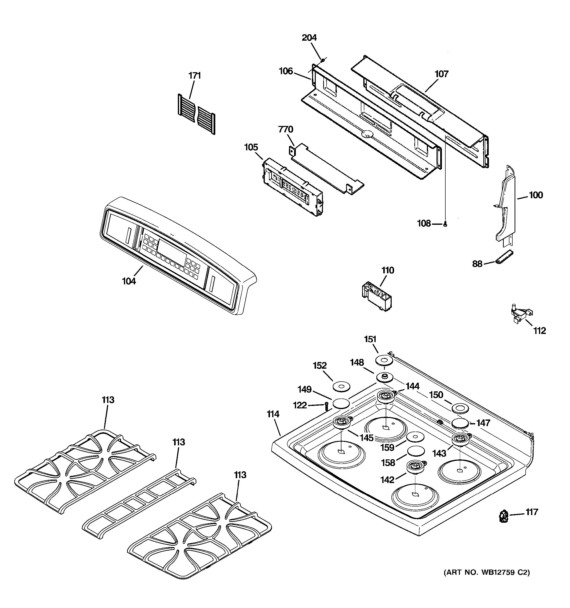 Assembly View For Control Panel Amp Cooktop