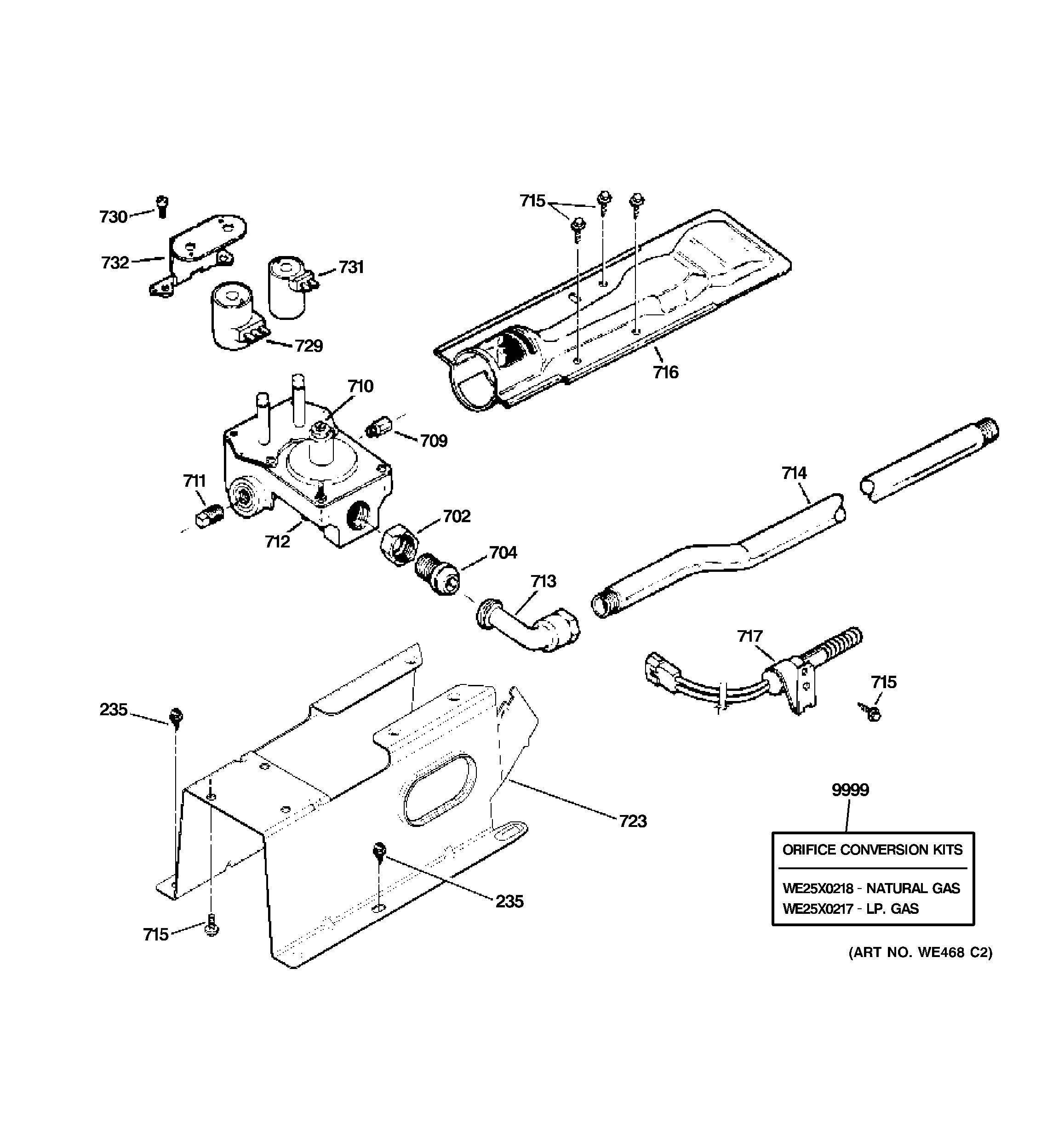 Assembly View For Gas Valve Amp Burner Assembly