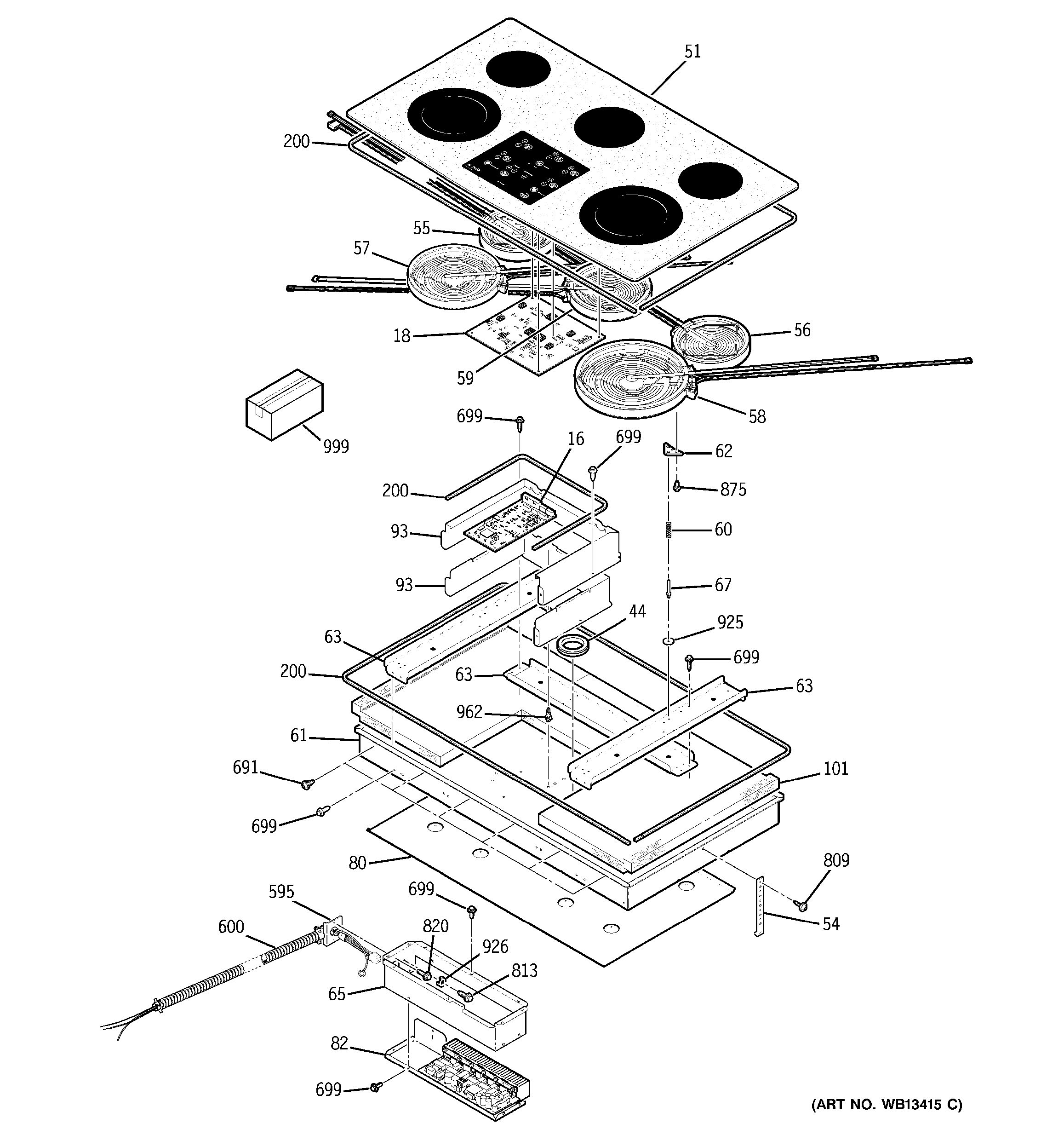 Assembly View For Cooktop Parts