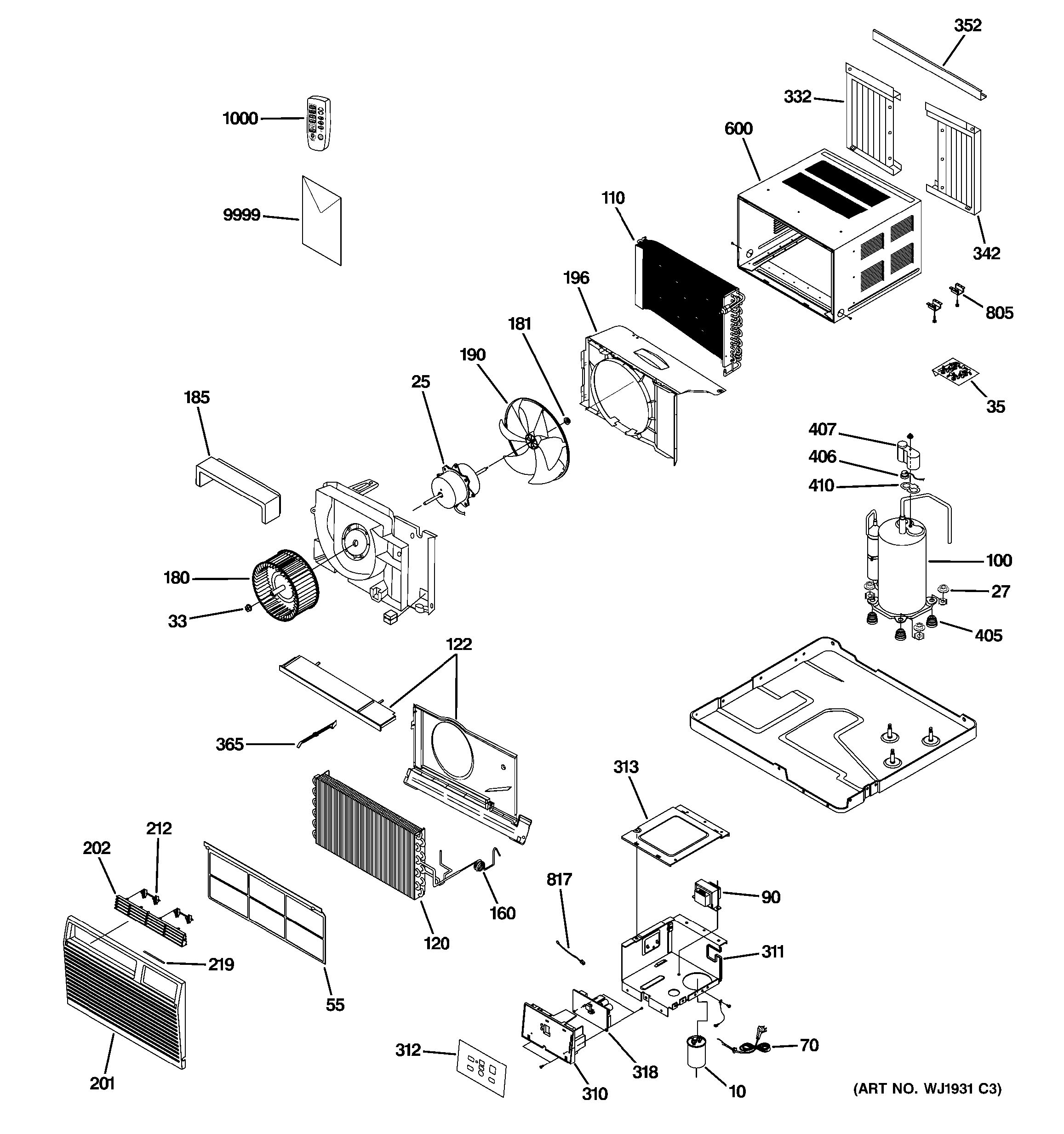Assembly View For Room Air Conditioner
