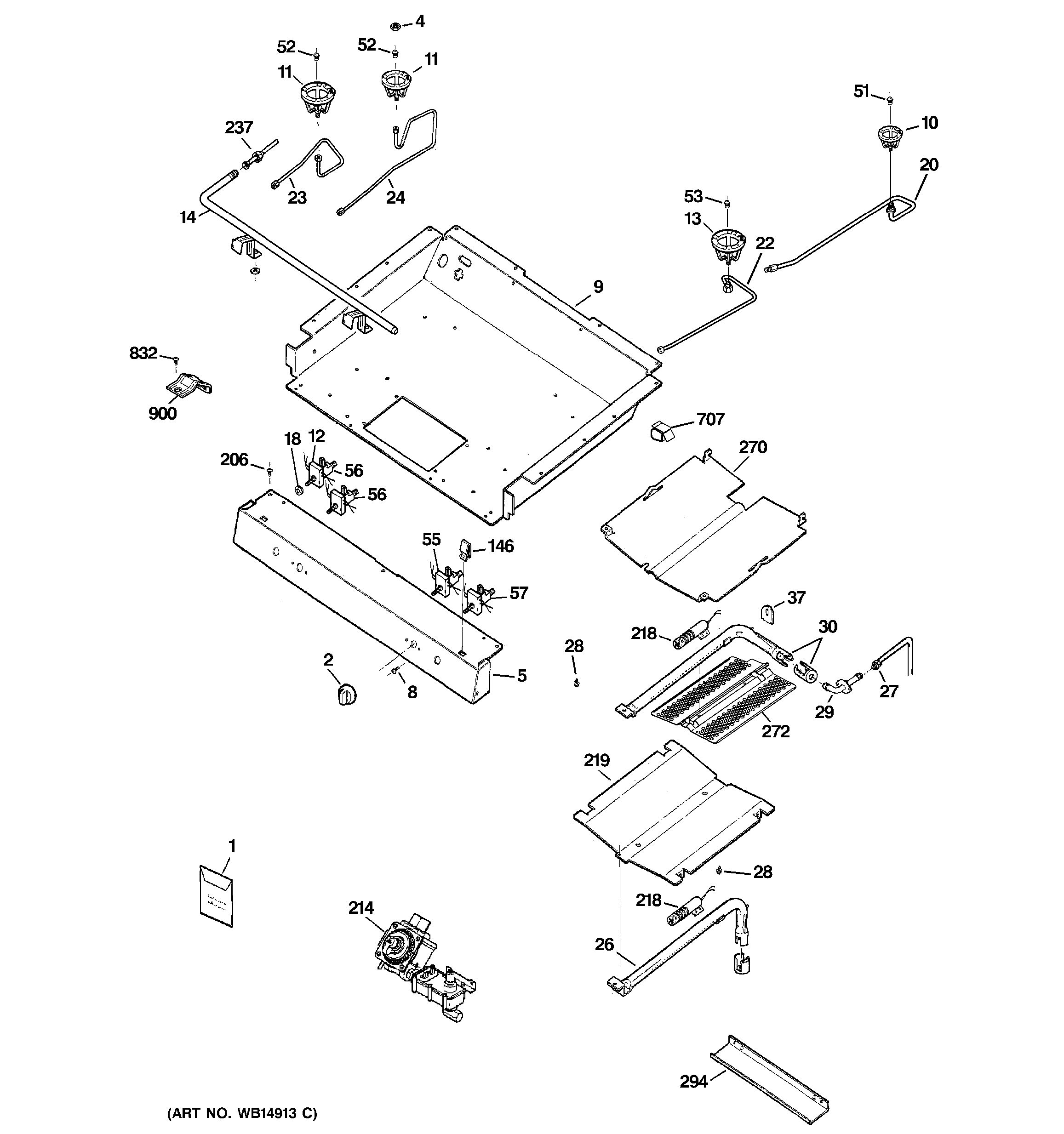 Assembly View For Gas Amp Burner Parts