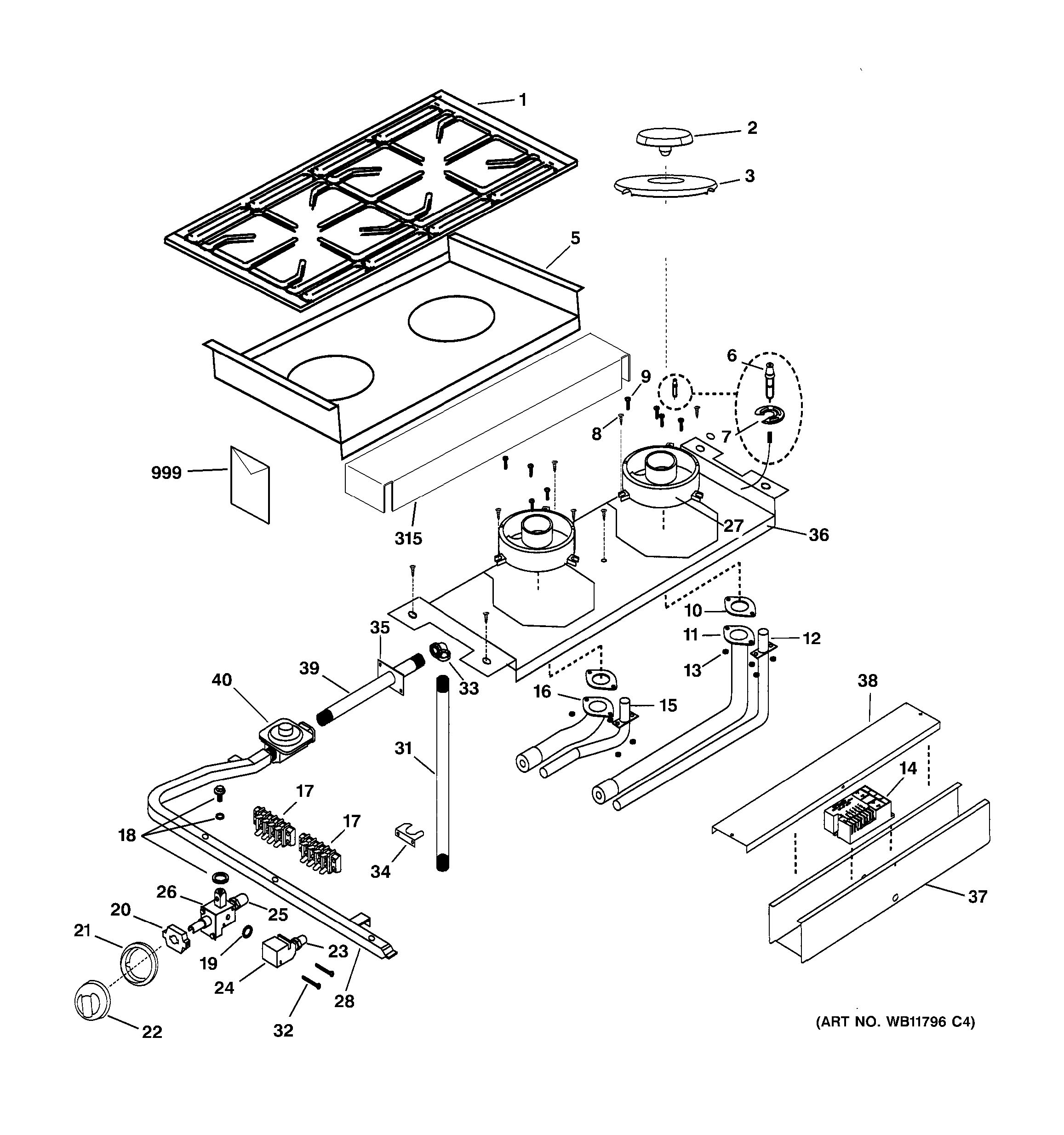 Assembly View For Cooktop Amp Burner Parts