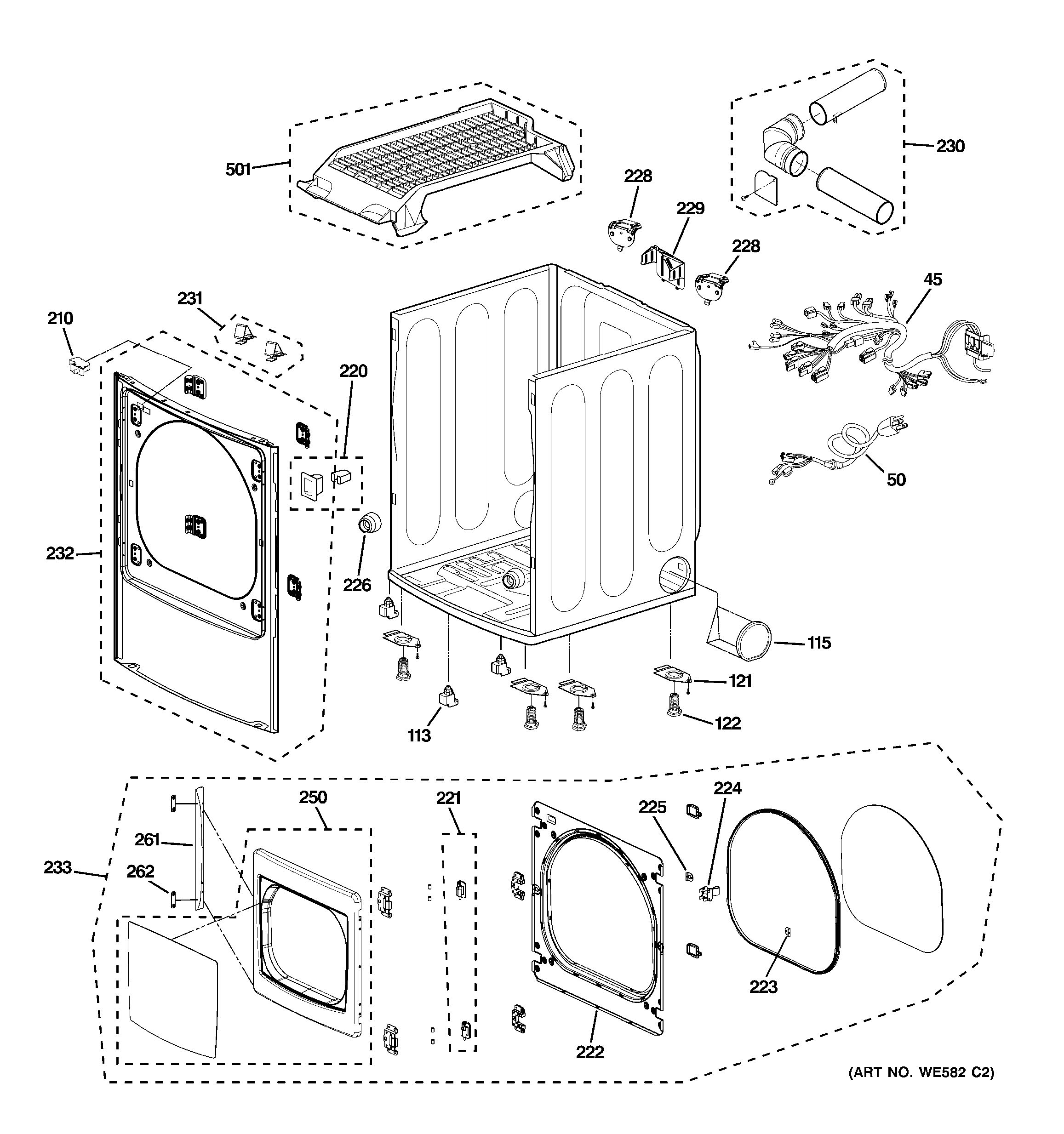 Assembly View For Cabinet Front Panel Amp Door