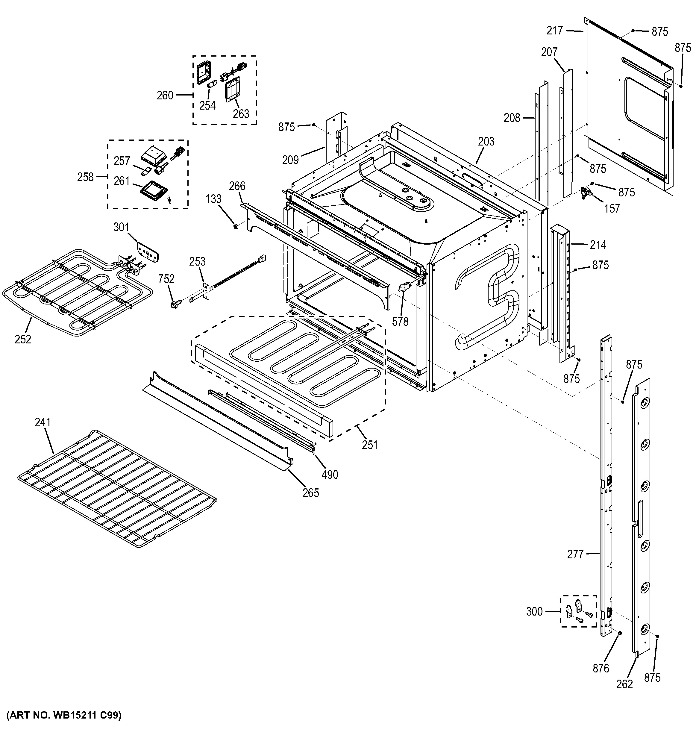 Assembly View For Upper Oven