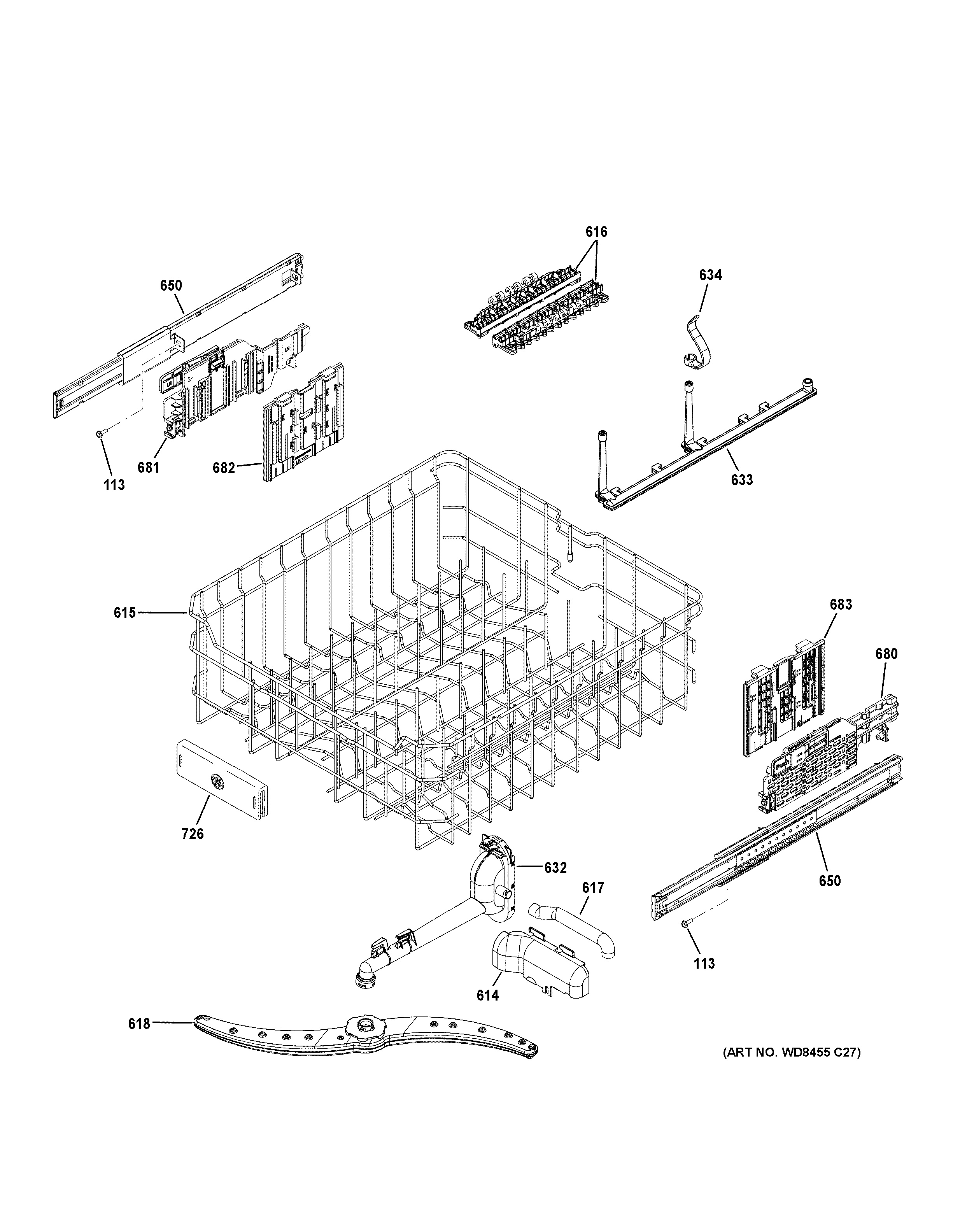 Assembly View For Upper Rack Assembly