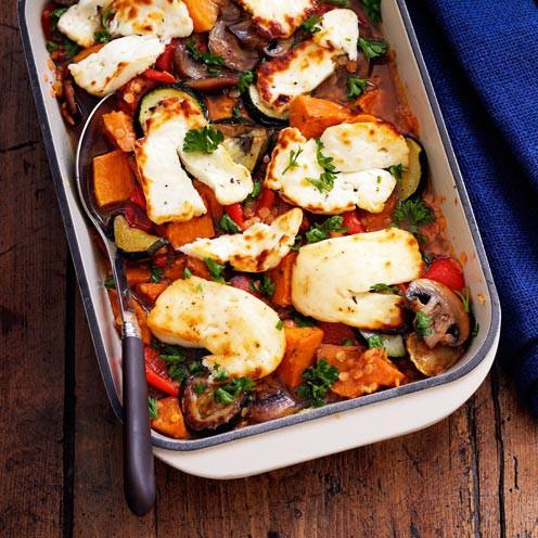Roasted Vegetable, Lentil and Halloumi Bake- Halloumi cheese recipes
