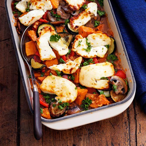 Roasted Vegetable, Lentil and Halloumi Bake- Halloumi cheese recipes