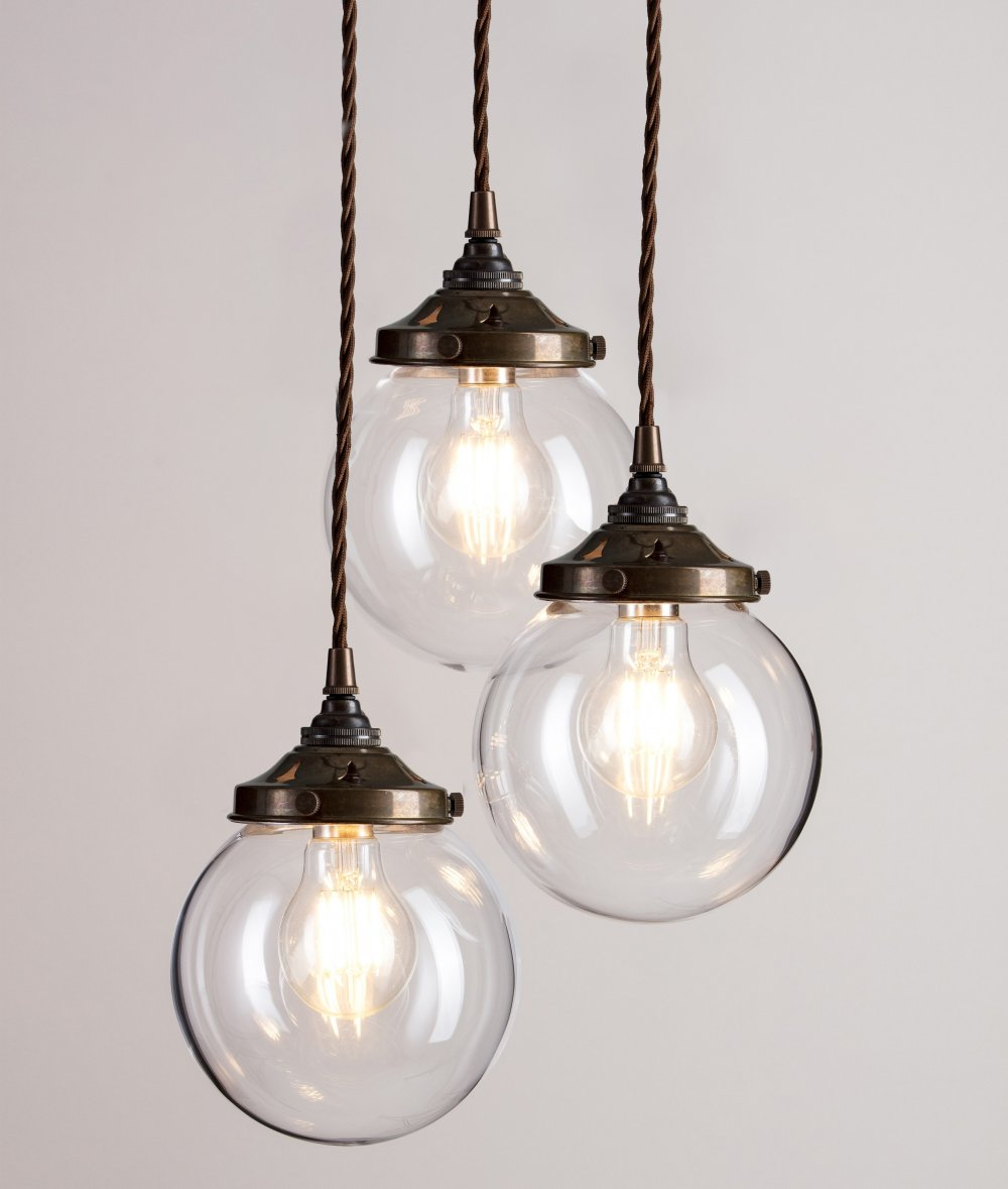 Glass Globe Cluster Pendant Light With Antique Brass Fittings