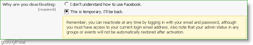 you can reactivate  facebook at any time, is this really deactivation?