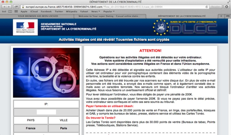 Reveton ransomware, impersonating Gendarmerie Nationale.