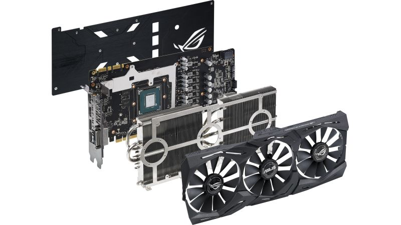 An exploded view of the ASUS ROG Strix GeForce GTX 1070 Ti.