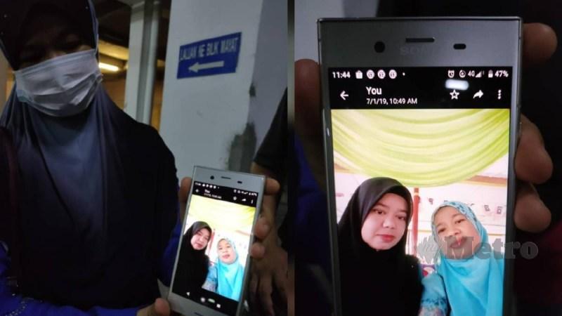 MASLINAWATI menunjukkan gambar kenangan bersama arwah Nor Hayati (kiri) ketika ditemui di hospital, tengah malam ini. FOTO AMIR ABD HAMID.