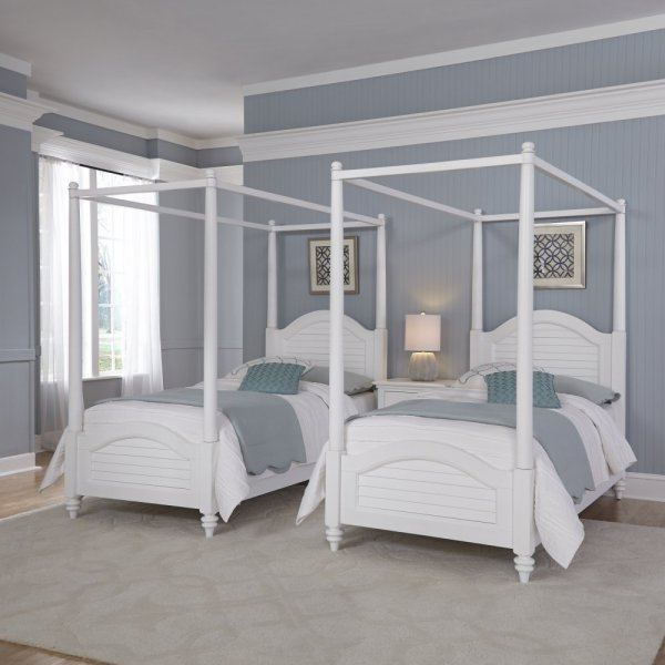 Bermuda White Two Twin Canopy Beds and Nightstand   Homestyles