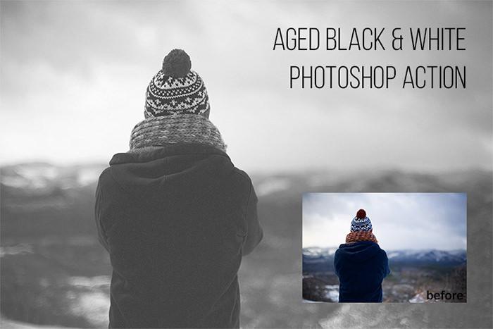 Aged Black & White: Free Photoshop Action