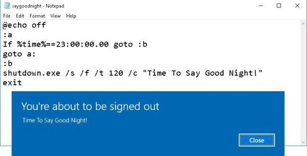 Shut down message after running script
