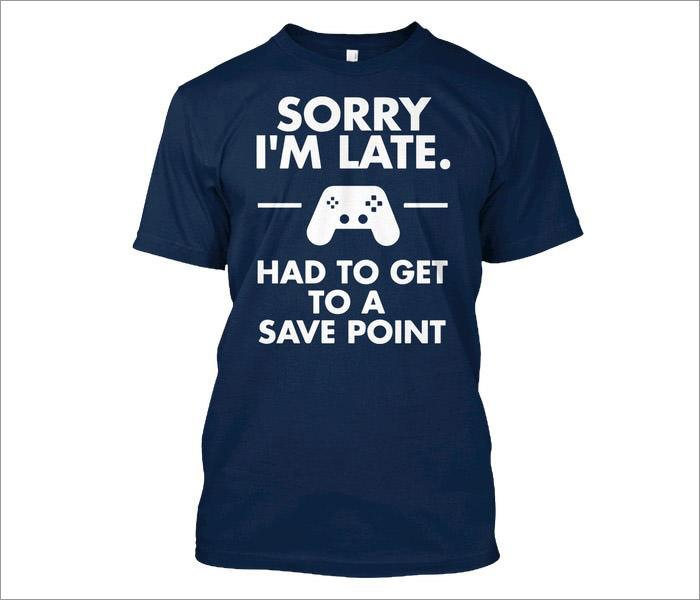 sorry-late-gamer-t-shirt