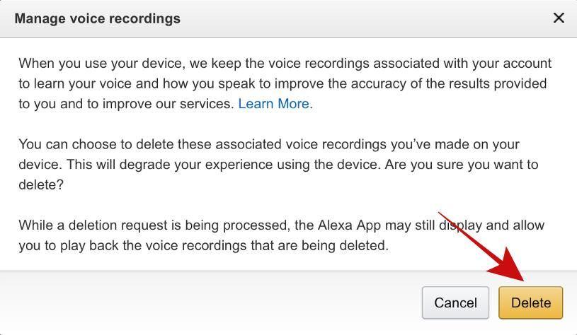 Delete all voice recordings in Amazon Alexa