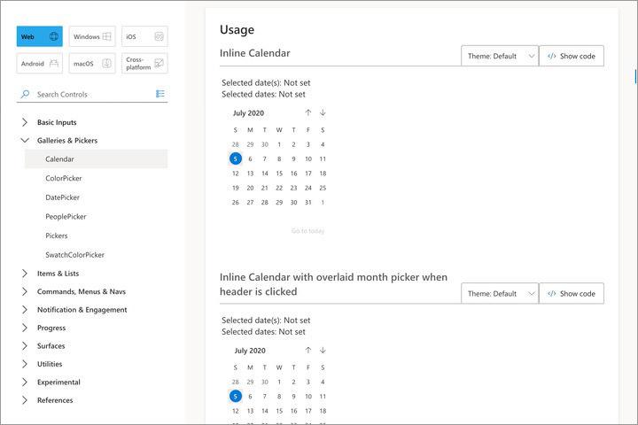 Fluent UI component of a calendar