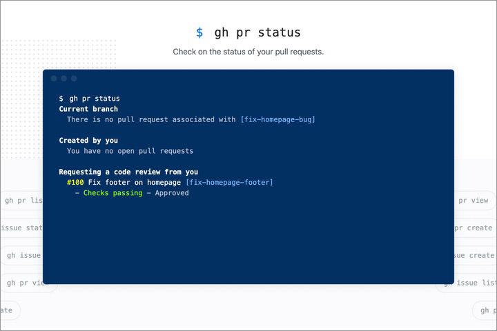 Github CLI animated command on the homepage