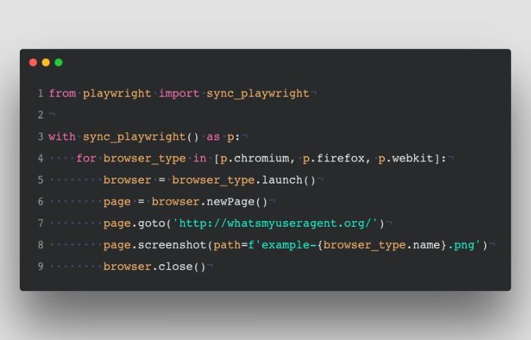 Пример синтаксиса Python Playwright