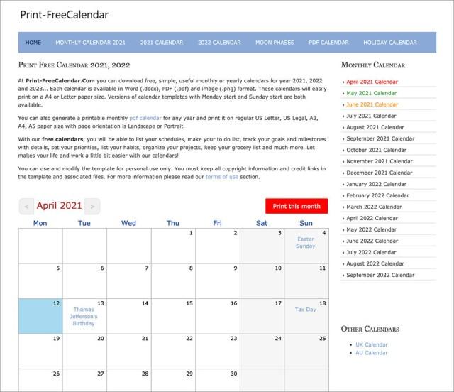 Calendar without printing