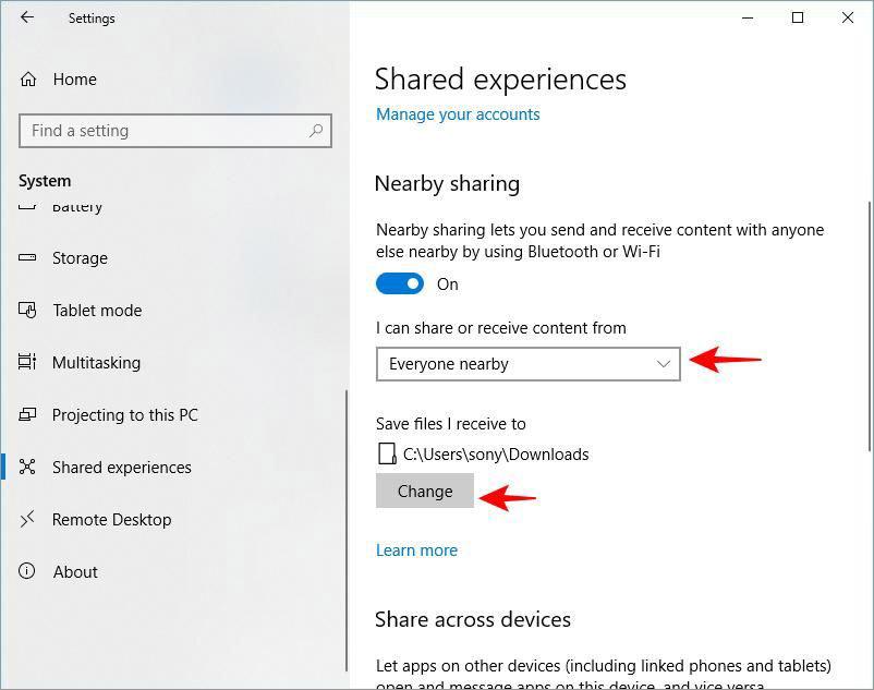 Настроить общий доступ в Windows 10