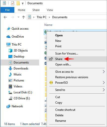 Совместное использование с помощью совместного использования в Windows 10