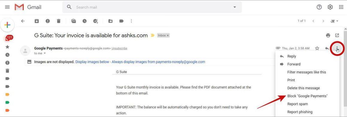 Заблокируйте нежелательного отправителя в Gmail