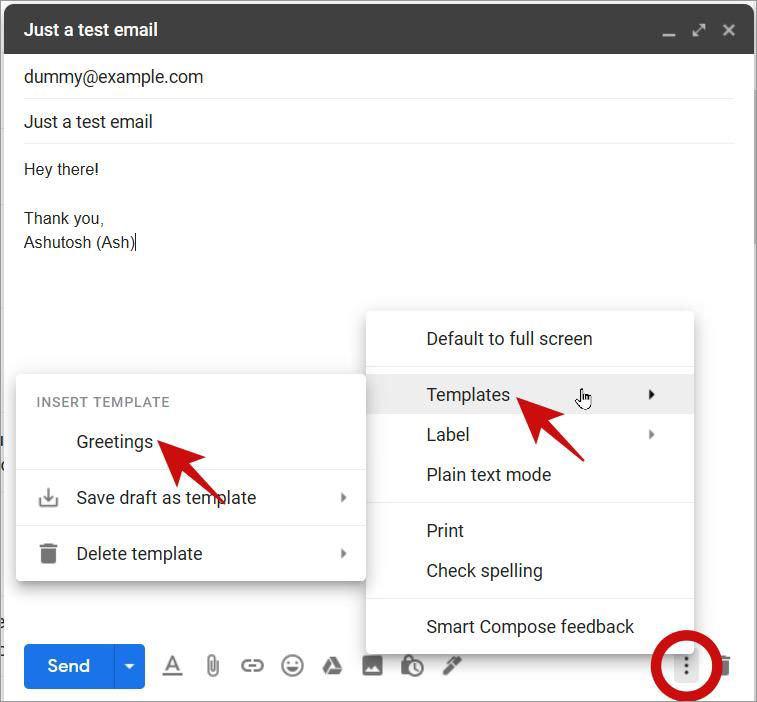 Используйте шаблоны электронной почты в Gmail