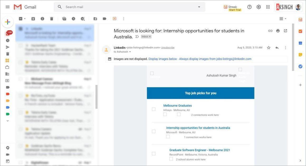 Панель предварительного просмотра в Gmail, такая как Outlook