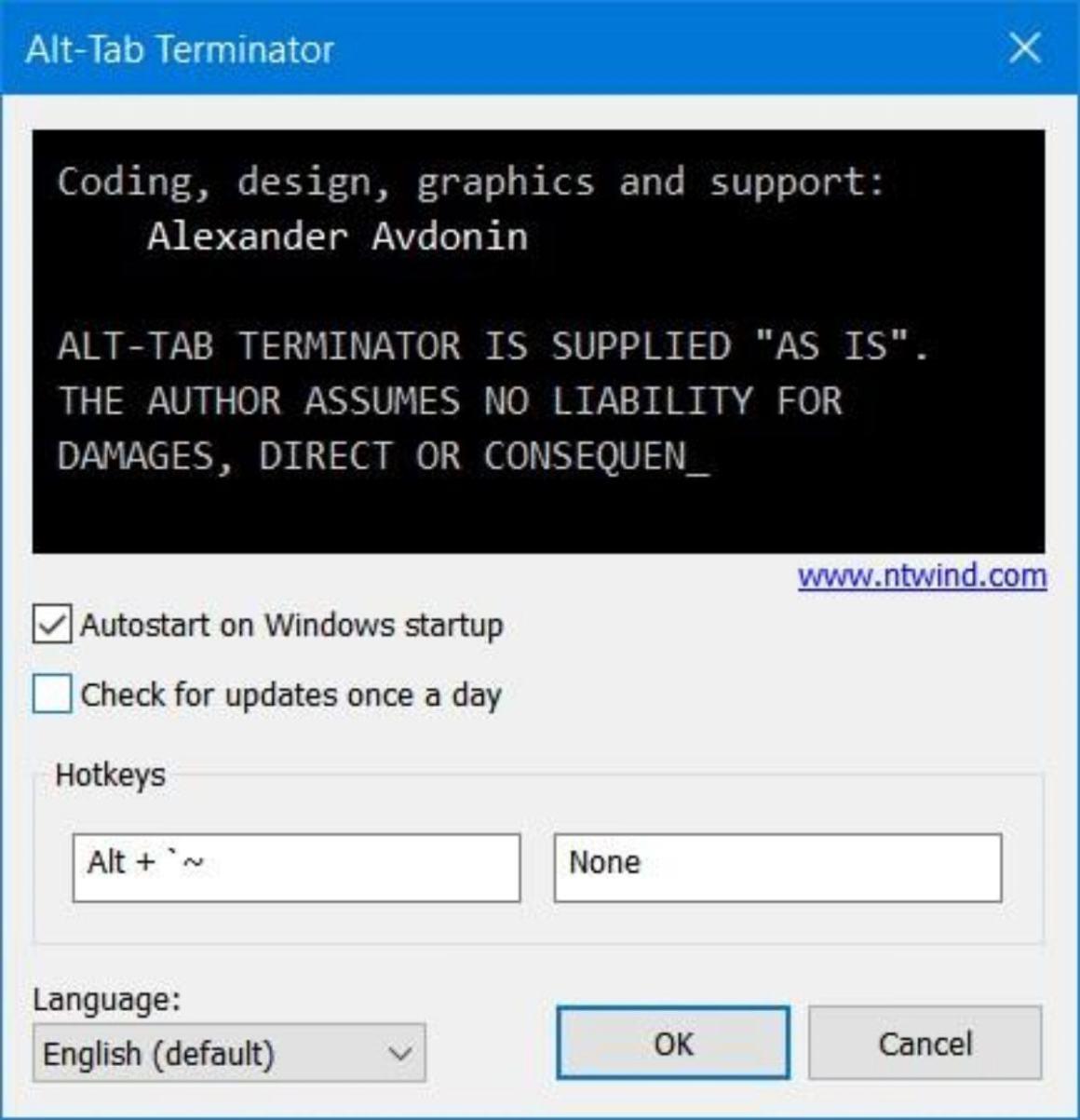 Установить горячие клавиши в Alt-Tab Terminator