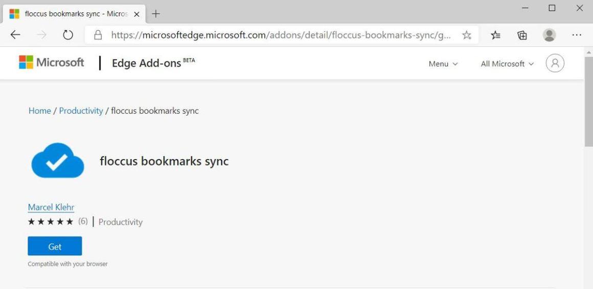 Установите Floccus в Microsoft Edge