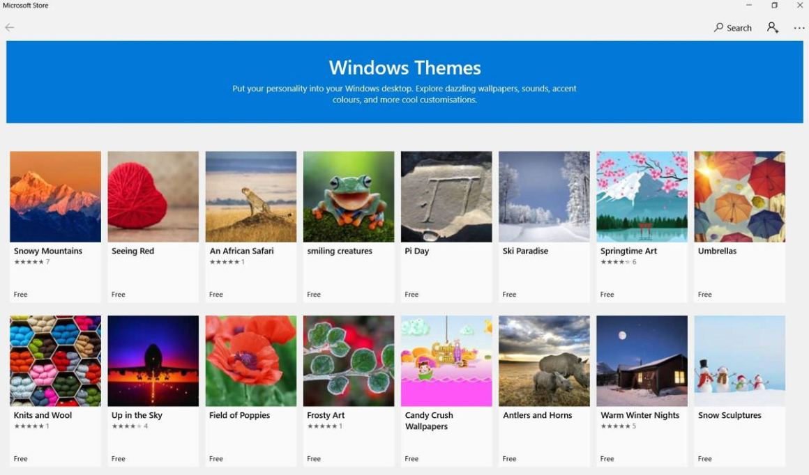 Темы для Windows в Microsoft Store