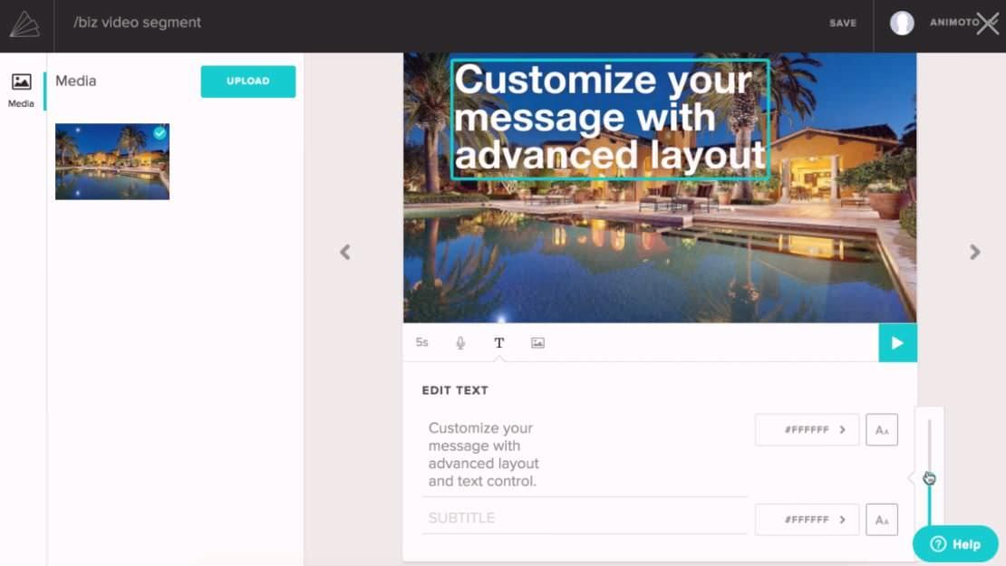 Customise with advanced layout in Animoto