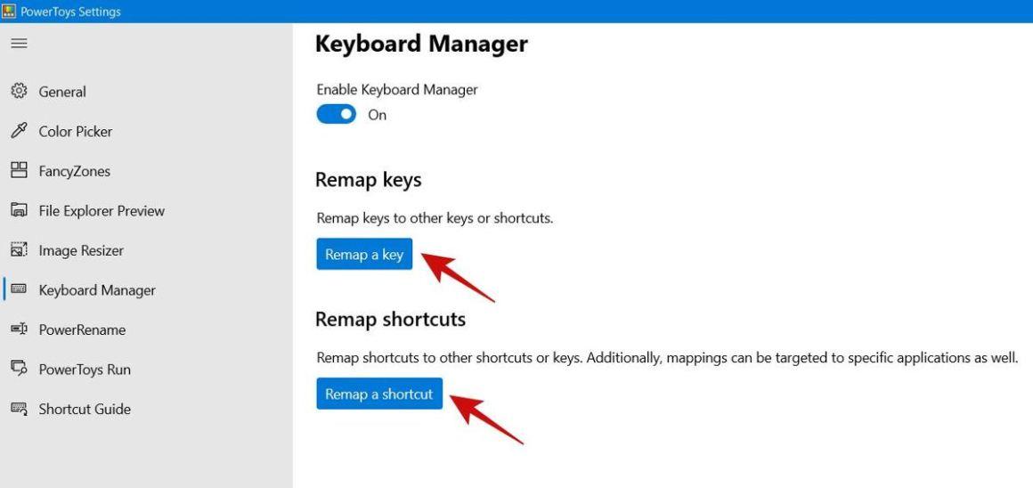 Диспетчер клавиатуры PowerToy в Windows 10