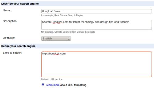 Настройте пользовательский поиск Google