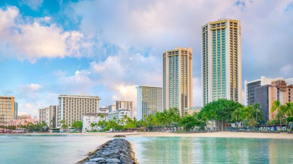 Hyatt Regency Waikiki Beach Exterior From the Beach