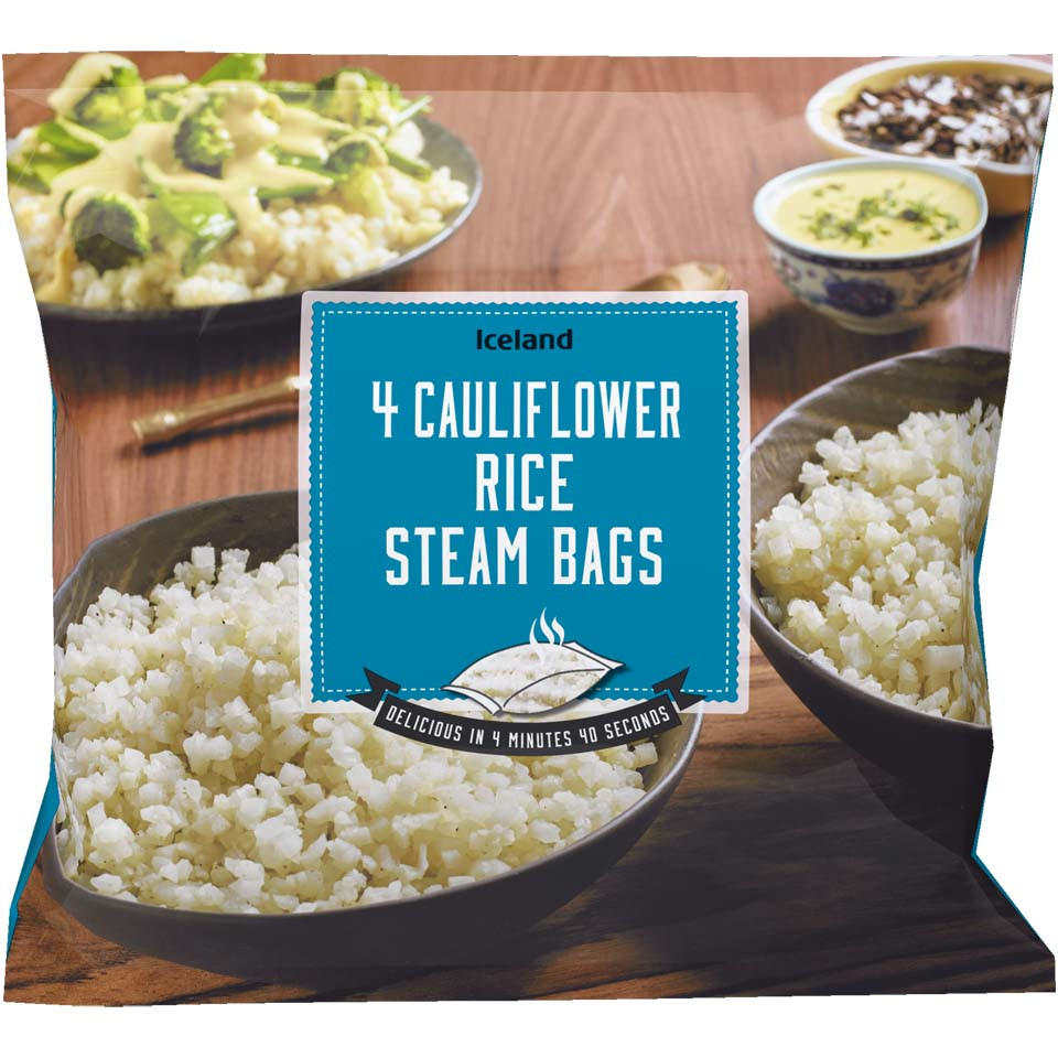 iceland 4 cauliflower rice steam bags