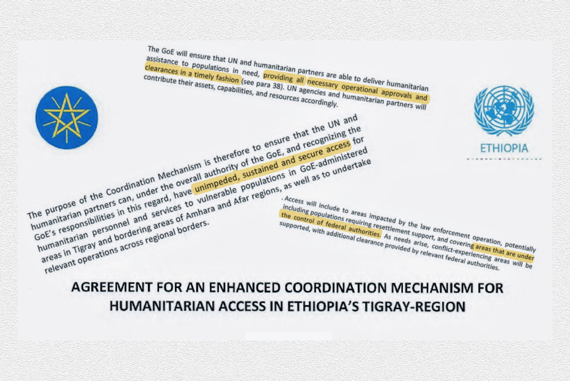 Extracts from a humanitarian access agreement between Ethiopia and the United Nations signed on 29 November 2020.